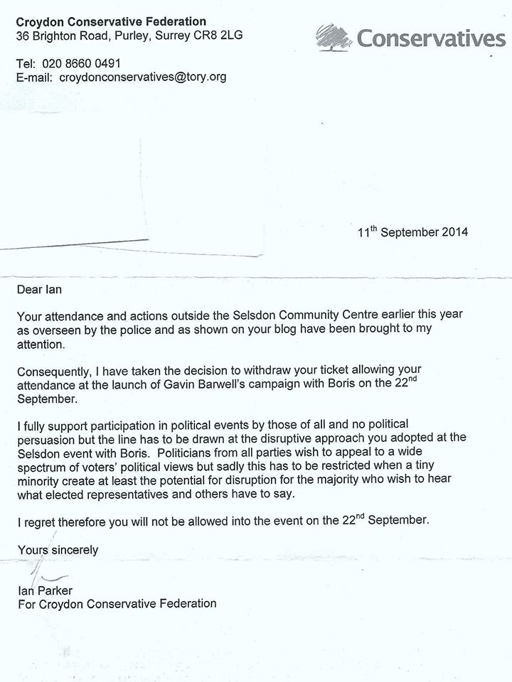 Letter to Ian Bone re confiscating his ticket