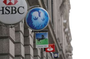 B9AXG3 Bank signs, City of London